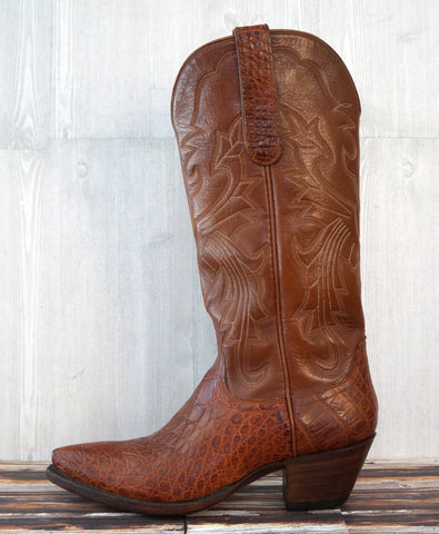 FALCONHEAD Women's 6 Brown Alligator with Calfskin Leather Western Cowboy Boots