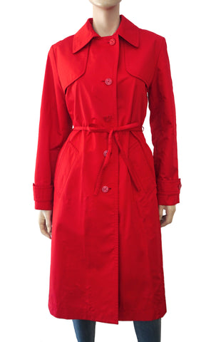 YVES SAINT LAURENT Rive Gauche Belted Red Trench Coat 40 US 8 VINTAGE YSL