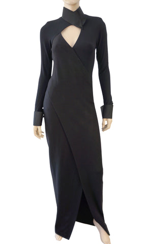 DONNA KARAN NEW YORK Black Wool Jersey High Slit Gown Dress 42 US 6