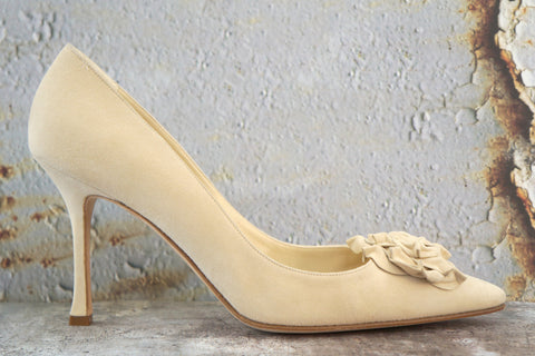MANOLO BLAHNIK Lisa Flower Suede Pumps w/Tags, 40/9.5