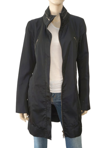 REISS Petrol Blue Treeton Multi Pocket Shell Parka Coat with Hood L