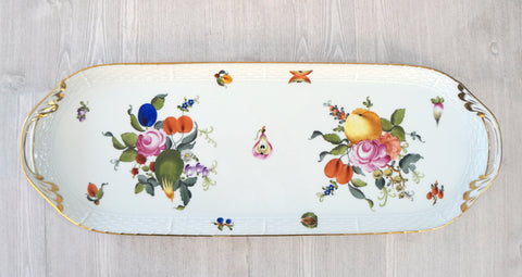 "HEREND 19"" Oblong Serving Tray Fruits & Flowers MINT"