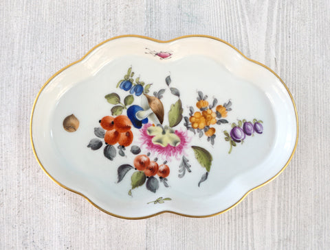HEREND Fruits and Flowers Tray Dish MINT