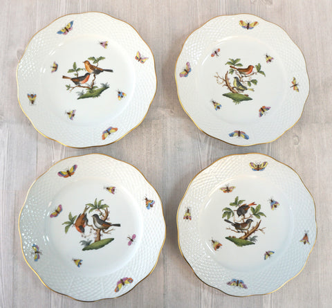 HEREND Rothschild Bird Desert Pie Plates Set of 4