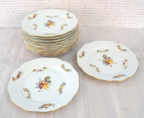 HEREND Liechtenstein Grand Salad Dessert Plates Set of 12