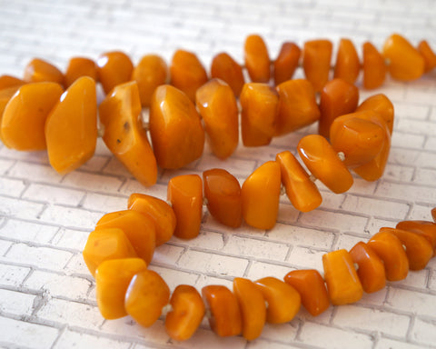 Antique Rare BALTIC AMBER NECKLACE Graduated Egg Yolk Nuggets 118gr