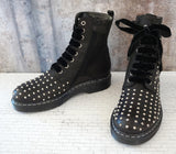 MISS GRANT 5.5Y Girls Black Leather Studded Lace Up Boots NIB