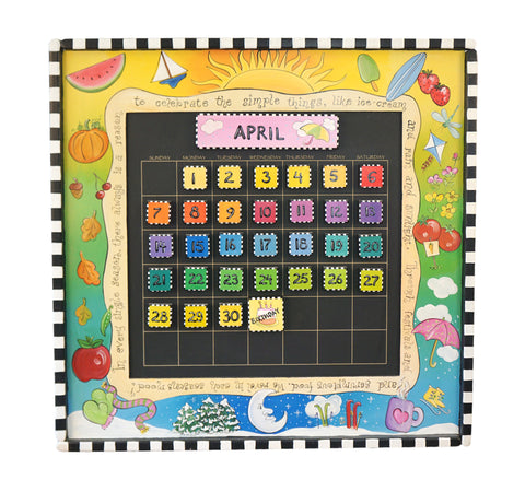 Hand Painted Wall Calendar with Magnetic Tiles 3'x3' by Artist Michelle Lally