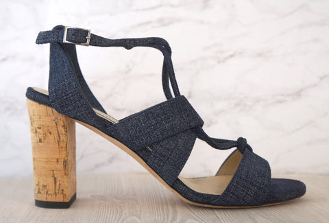 JIMMY CHOO 37 Margo Denim Blue 80mm Cork Heel Sandals 6.5