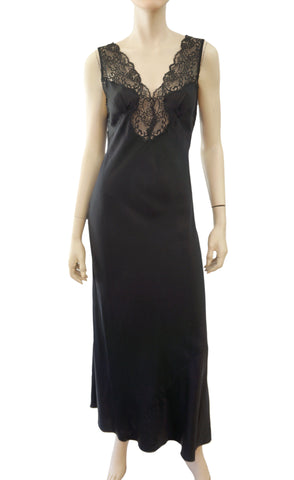 RITRATTI Black Silk Sheer Lace Inset Maxi Nightgown Chemise Dress S