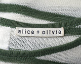 ALICE + OLIVIA Green White Sweater Dress Short Sleeve Striped Linen S