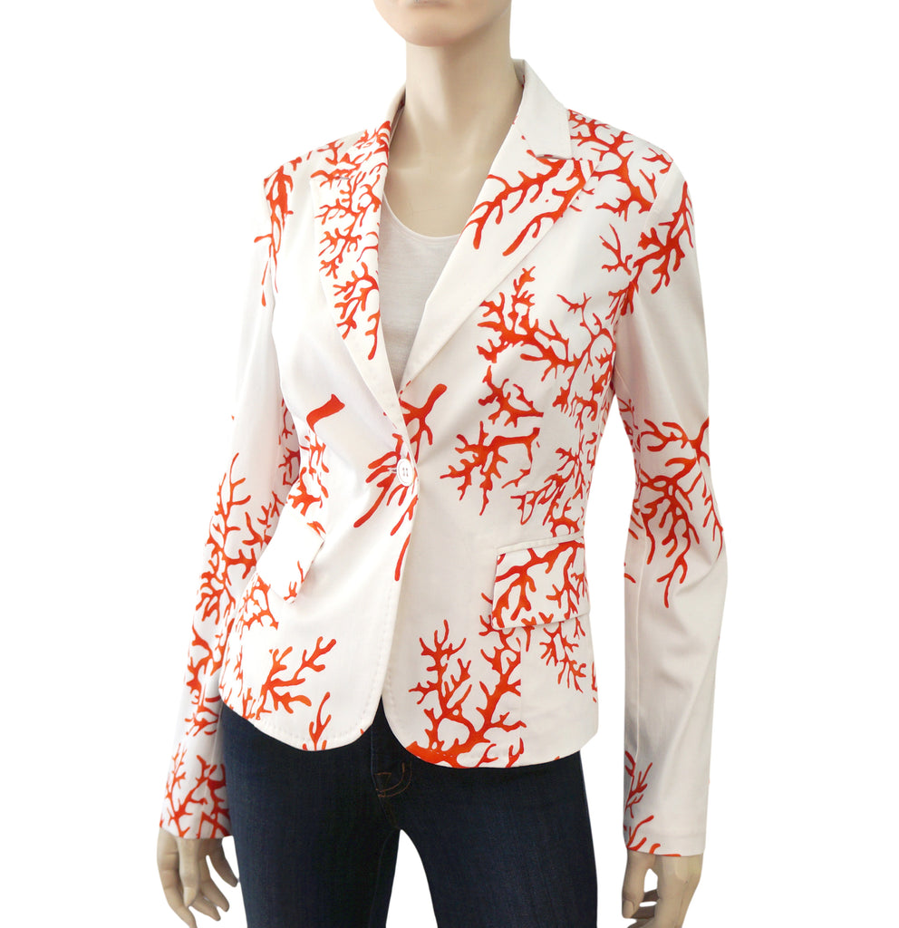 ... RED VALENTINO Jacket 44 White Coral Print Cotton Blazer US 6 8 ...