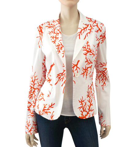 RED VALENTINO Coral Print Cotton Jacket, IT 44 / US 8