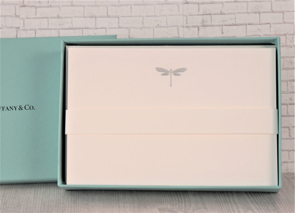 TIFFANY & CO Embossed Dragonfly Stationary Set 12 Sheets Envelopes NEW IN BOX