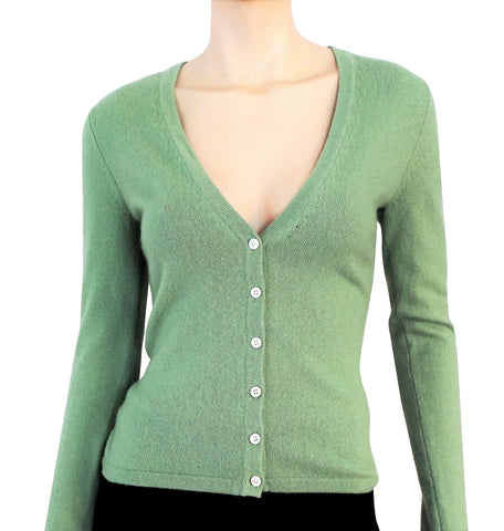 MICHAEL KORS COLLECTION Melon Green Cashmere Slim Fit Cardigan Sweater XS