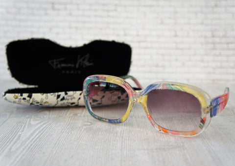 FRANCIS KLEIN Blues B59 Multicolor Square Frame Gradient Sunglasses Vintage NEW