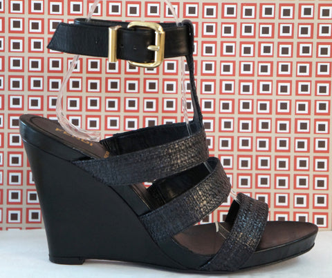 FENDI Raffia & Leather T-Strap Wedge Heels, 37.5/7.5