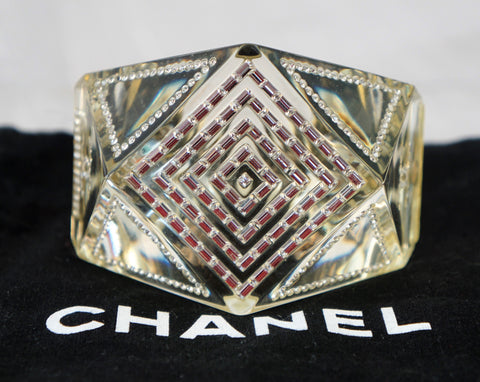 CHANEL Gold Lucite Baguette Crystal CC Cuff Hinged Bracelet Ultra Rare
