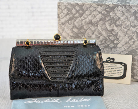 JUDITH LEIBER Vintage Black Snakeskin Trifold Wallet with Coin Purse NEW in BOX