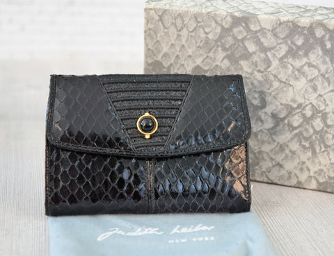 JUDITH LEIBER Vintage Black Snakeskin Small Trifold Wallet NEW in BOX