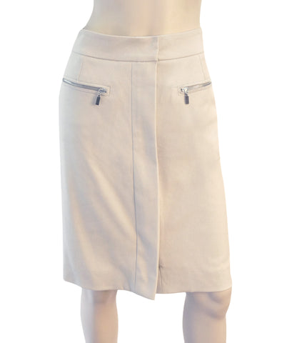 OSCAR DE LA RENTA Stretch Cotton Zipper Skirt, Sz 6