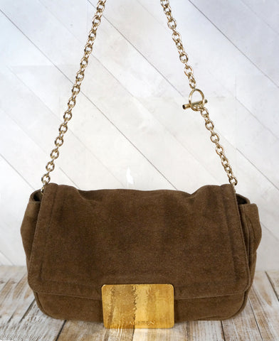 HALSTON HERITAGE Brown Suede Shoulder Bag Gold Chain