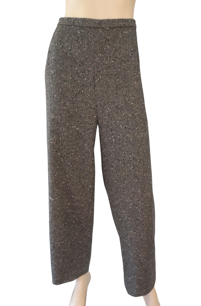 OSCAR DE LA RENTA Black Gray Herringbone Tweed Tapered Leg Dress Pants 18P