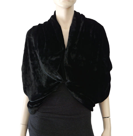 LANVIN Black Velvet Cape Cropped Hook Front Bolero Jacket 36 US 4