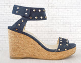 JIMMY CHOO 39 Blue Suede Studded Nelly Wedges Sandals 8.5 NEW