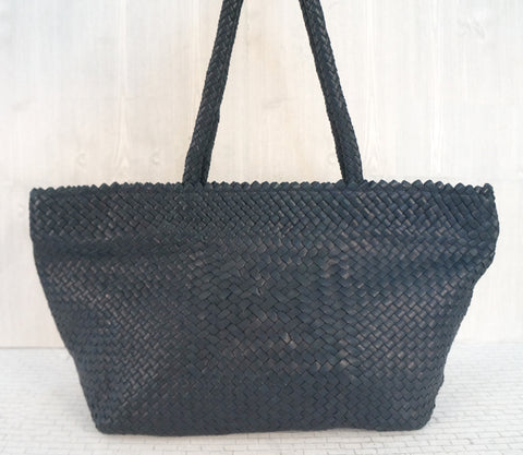 DRAGON DIFFUSION Navy Blue Woven Leather Tote Shoulder Bag