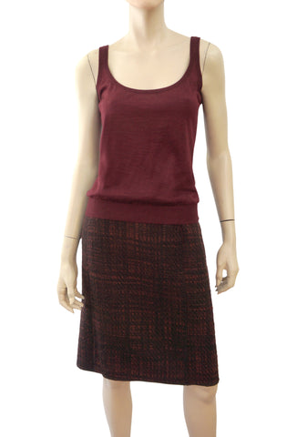 PRADA Burgundy Wool Tweed Knee Length Pencil Skirt 44 US 8 10 NEW