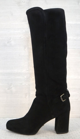 PRADA 39 Black Suede Buckle Knee High Block Heel Platform Boots 9