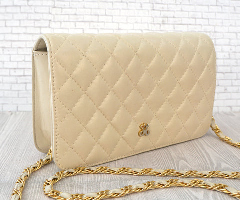 JAY HERBERT Small Bone Ivory Quilted Leather Vintage Crossbody Bag MINT
