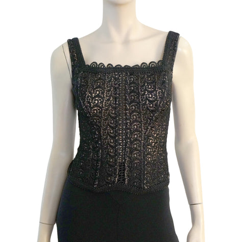 VALENTINO INTIMO Couture Black Lace Top 36 Sheer Nude Mesh Corset Lingerie S