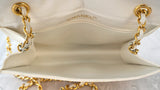 CHANEL Vintage Off White Ivory Embossed Lizard Leather Shoulder Flap Bag