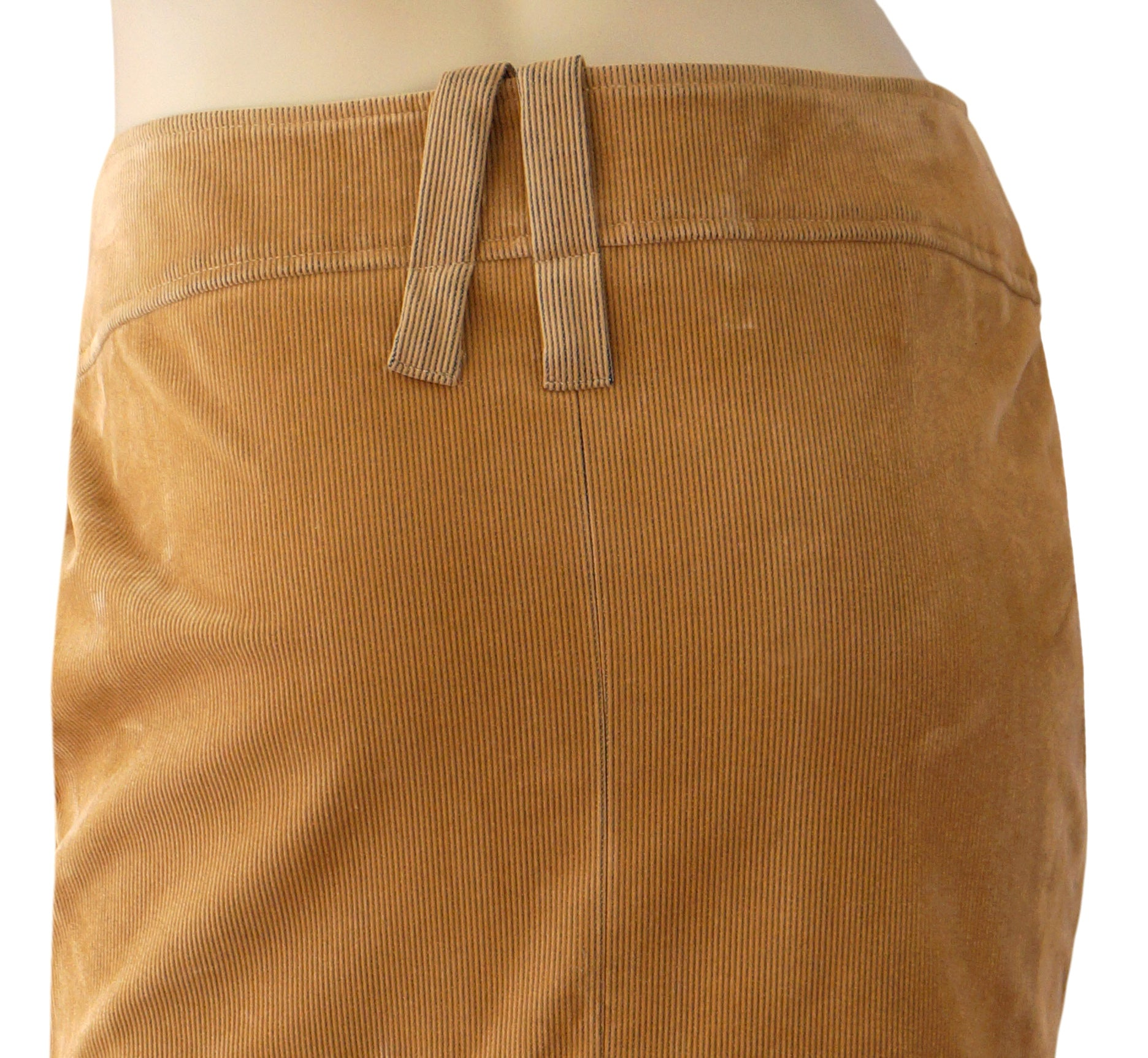 90485c090 GIANFRANCO FERRE Tan Cotton Corduroy Pencil Skirt Pleat Back 6 New Wit –  LaLaStyle