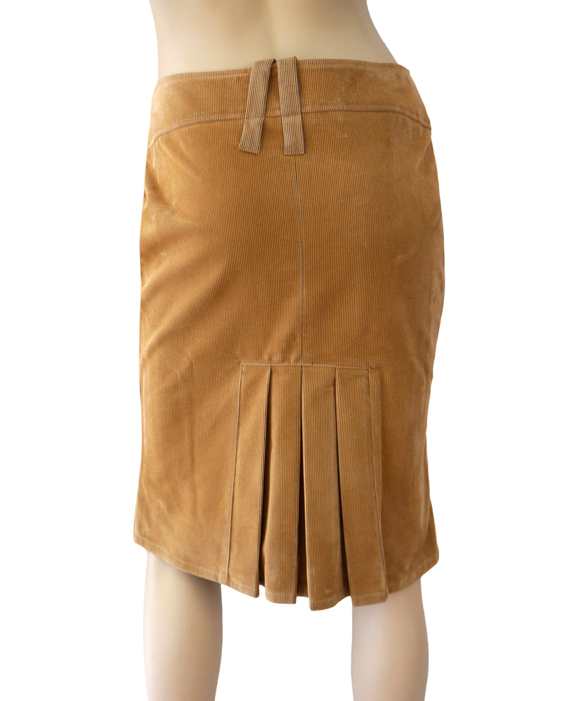 a6a9fa4b1 ... GIANFRANCO FERRE Tan Cotton Corduroy Pencil Skirt Pleat Back 6 New With  Tags ...