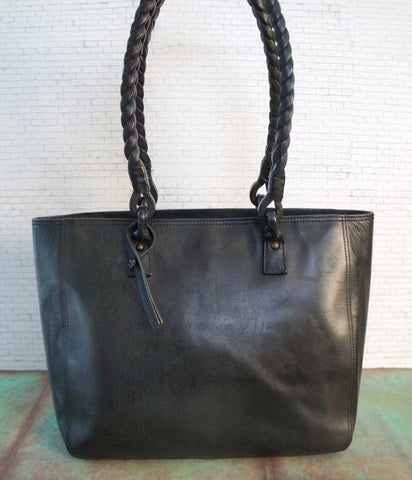 RALPH LAUREN Black Leather Braided Handle Tote Bag