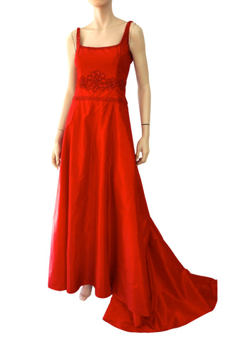 BADGLEY MISCHKA Red Silk Satin Embellished Fishtail Gown Dress 2 NEW