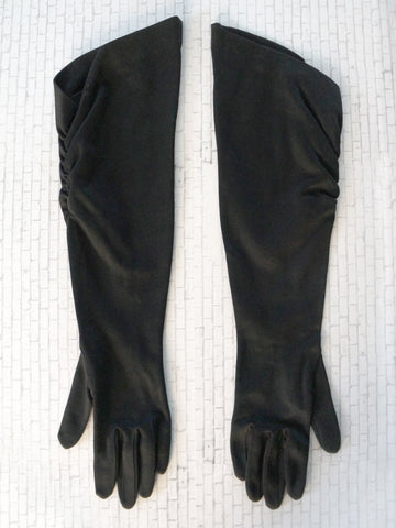 Black Stretch Satin Opera Elbow Gloves sz 6.5