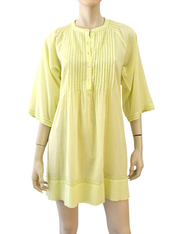 ROBERTA ROLLER RABBIT Yellow Cotton Pleat Front Button Tunic Top Cover Up L NEW