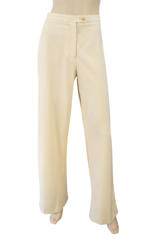 CAROLINA HERRERA Winter White Ivory Wool Wide Leg Dress Pants 12