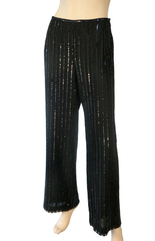 ARMANI COLLEZIONI Women's Black Embellished Wide Leg Pants 10 NEW