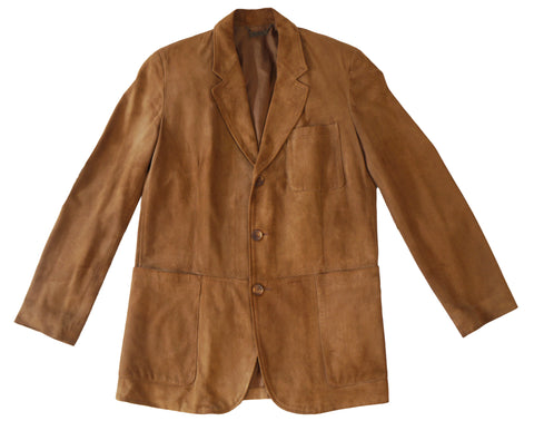 LA MATTA Men's Camel Brown Suede Jacket 3-Button Sport Coat Blazer  52