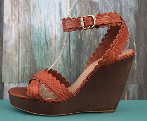 SEE BY CHLOE Leather Ankle Strap Wedges, 38/7.5