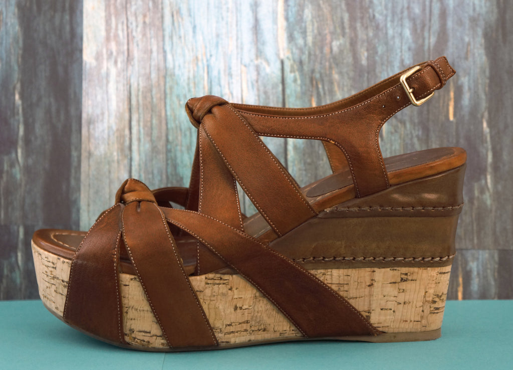 MIU MIU 37.5 Brown Leather Knotted Cork Wedge Platforms Sandals 7.5