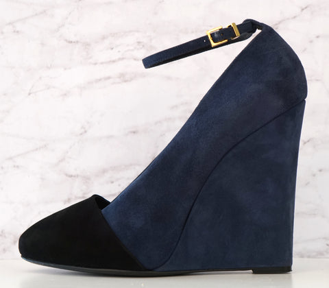 CELINE 40.5 Navy and Black Suede Colorblock Wedge Pumps Ankle Strap Heels 9.5