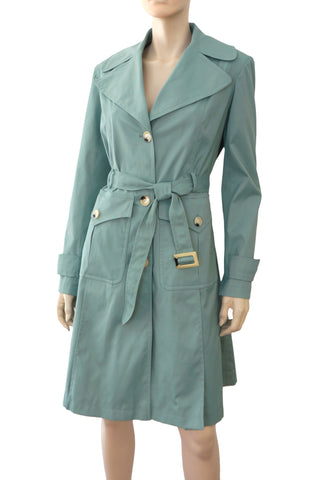 DKNY Belted Mineral Blue Gabardine Single Breasted Trench Coat XS NEW