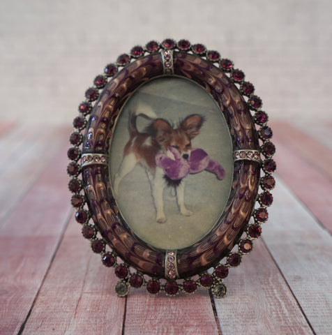 JAY STRONGWATER Small Oval Picture Frame Purple Enamel Swarovski Crystals