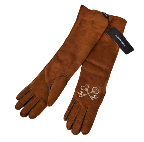 DOLCE & GABBANA Embellished Caramel Brown Suede Shearling Gloves M NEW WITH TAGS
